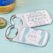 Beach Tides Design Personalized Silver Bottle Opener with Epoxy Dome