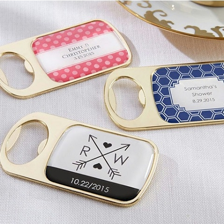 Stylish Personalized Gold Bottle Opener Wedding Favors