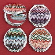 Chevron Design Mirror Compacts - Wholesale Lot