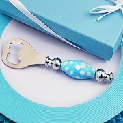 Murano Bottle Opener Blue with White Dot Handle