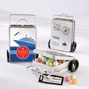 Personalized Miles of Memories Suitcase Tins (set of 12)