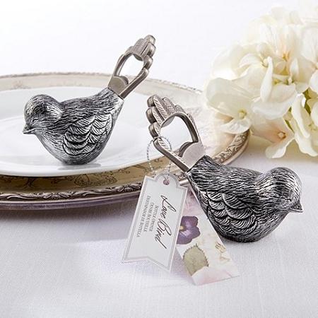 antiqued bird bottle opener wedding favors. Black Bedroom Furniture Sets. Home Design Ideas