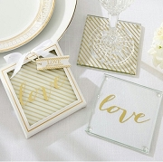 Gold Love Glass Coasters Set (set of 2)