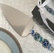 Murano Style Cake Server with Blue Beads