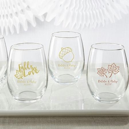 Personalised Wine Glasses Wedding Favors : wine glasses fall wedding theme stemless wine glass 9 oz
