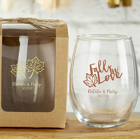 Fall Wedding Theme Personalized Stemless Wine Glass Favors