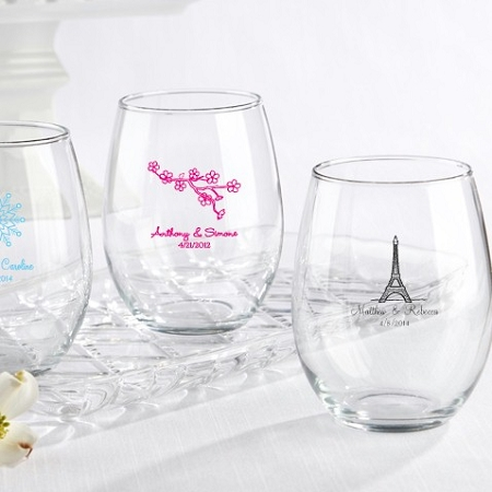 Personalized Stemless Wine Glasses Wedding Bridal