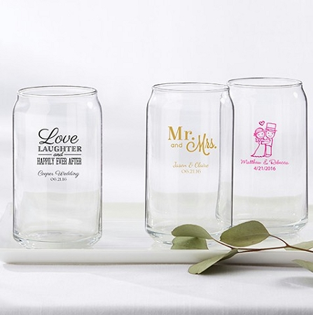 Personalized 16 Ounce Can Glass Wedding Favors Wedding