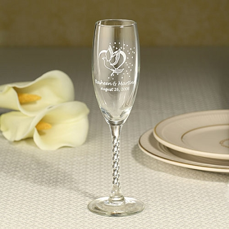 personalized champagne flute with twisted stem. Black Bedroom Furniture Sets. Home Design Ideas