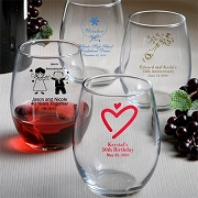 Personalized 9 oz Stemless Wine Glass Wedding Favors