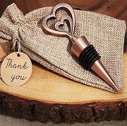 Copper Vintage Two Hearts Bottle Stopper