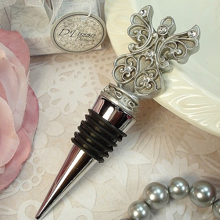 Antique Silver Design Angel Bottle Stopper Wedding Favor