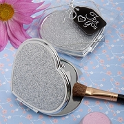 Heart Design Metal Compact Mirror