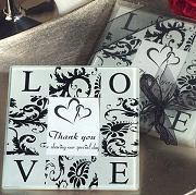 Classic Love and Damask Photo Coaster (set of 2)