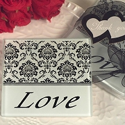 Damask and Love Glass Coaster (set of 2)