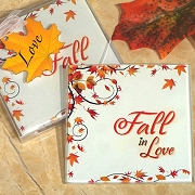 Fall in Love Glass Coaster (set of 2)