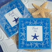 Starfish Design Glass Photo Coasters (set of 2)