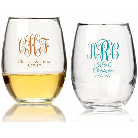 Wedding Favor Wine Glasses 15 Oz Monogrammed Stemless Wine Glass