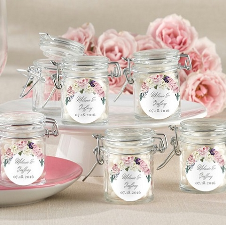 English Garden Floral Themed Glass Jar Wedding Favors