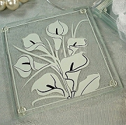 Calla Lily Theme Glass Coaster (set of 2)