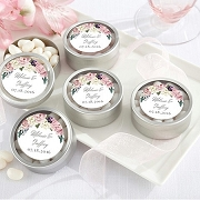 Floral Theme Personalized Silver Mint Tins (set of 12)