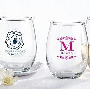 Stemless Wine Glass (9 oz) Botanical Wedding Design