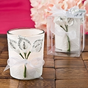 Votive Candle Favor with Silver Calla Lily Design