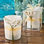 Votive Candle Favor with Gold Calla Lily Design