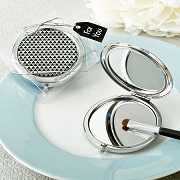 Modern Silver Graphic Design Compact Metal Mirror Bridal Shower Favors