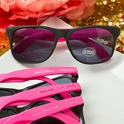 Personalized Plastic Wayfarer Style Sunglasses - Hot Pink and Black
