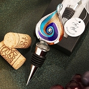 Multi Color Teardrop Murano Style Wine Stopper