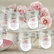 Rustic Flower Design Hinged Glass Jar Favors (set of 12)