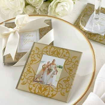 Golden Brocade Glass Photo Coasters (set of 2)