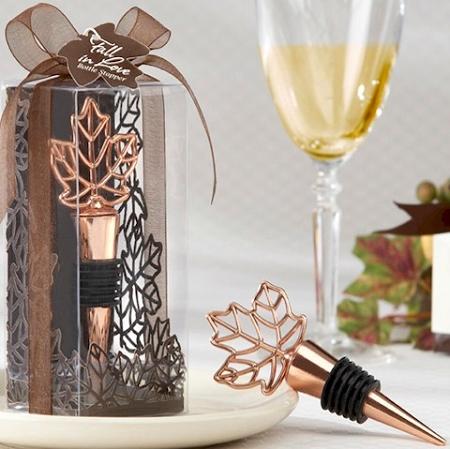 wine bottle stopper fall wedding favors autumn leaf design