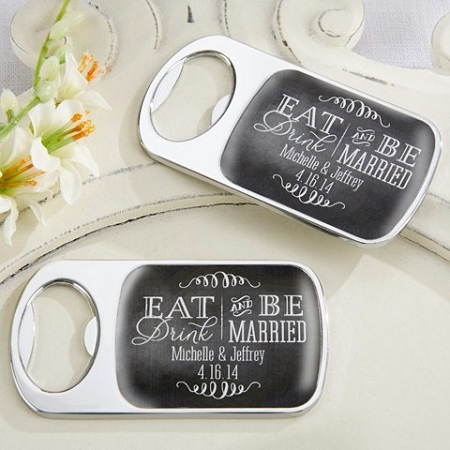 Personalized Epoxy Dome Bottle Opener With Eat Drink Be Married Design