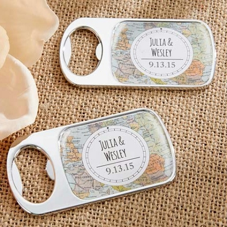 personalized silver metal bottle opener wedding favors travel