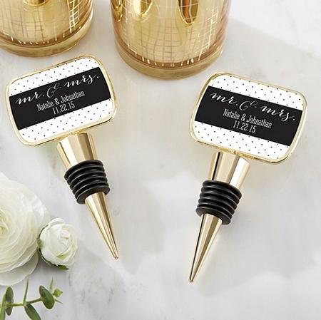 Gold Wine Bottle Stopper Wedding Favors With Custom Mr Mrs Design Labels