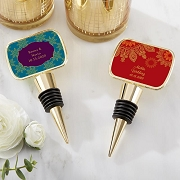 Personalized Epoxy Dome Gold Bottle Stopper - Indian Jewel Design