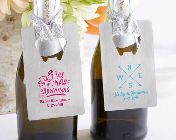 Personalized Silver Credit Card Bottle Opener Wedding Favors Destination