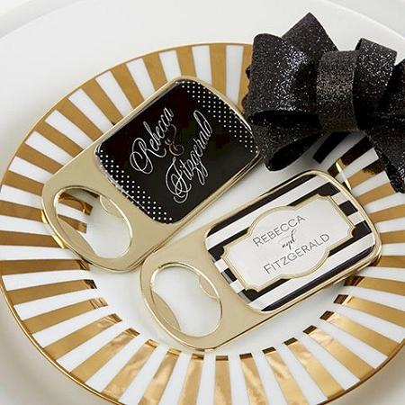 personalized gold metal bottle opener favors wedding favors bridal shower party engagement. Black Bedroom Furniture Sets. Home Design Ideas