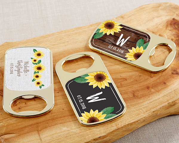 Personalized Gold Wine Bottle Opener Wedding Favors Sunflower