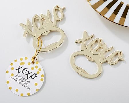Hugs and kisses bottle opener wedding favors with XOXO gold design - Practical XOXO bottle openers.