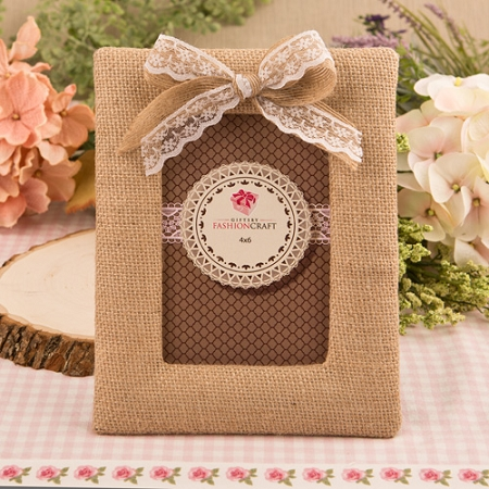 Rustic Burlap Photo Frame With Bow Rustic Wedding Frames