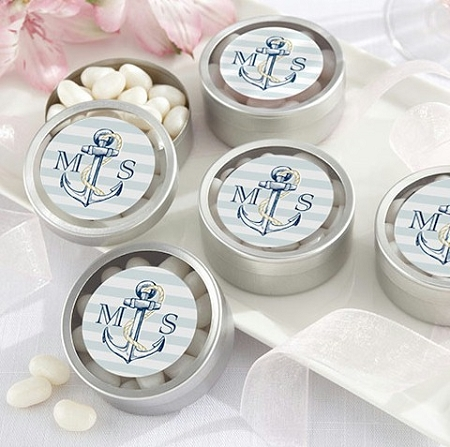 personalized anchor silver mint tins nautical wedding favors bridal shower favors