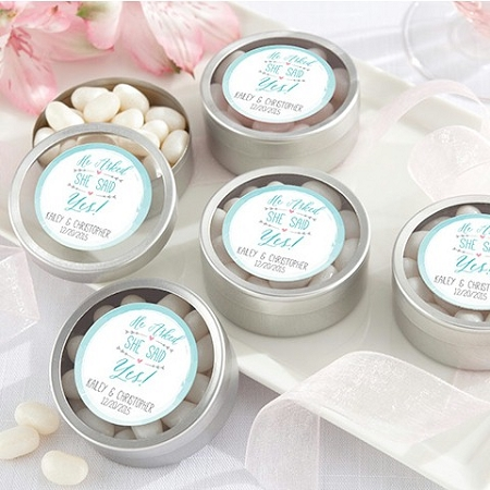 Personalized Silver Round Mint Tin Engagement Favors He