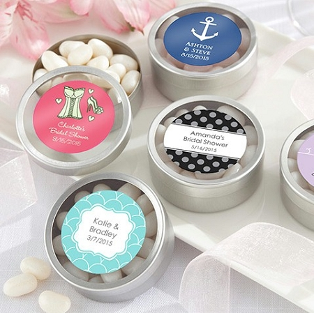 personalized round silver mint tin favors wedding favors bridal