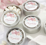 Rustic Bride Personalized Round Silver Mint Tin (set of 12)