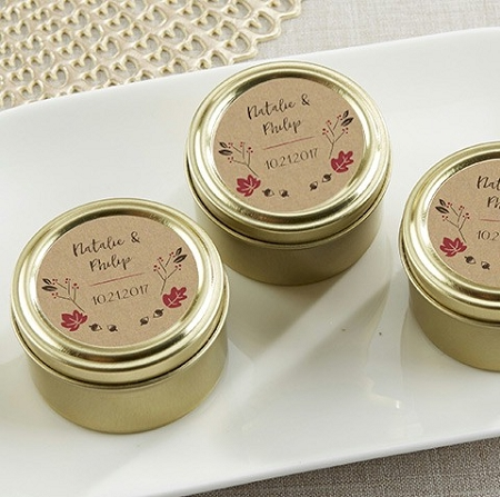 Personalized Gold Mint Tin Favors Fall Wedding Favors