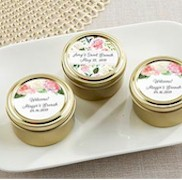 Personalized Gold Round Candy Tin - Bridal Brunch Flower Design (Set of 12)