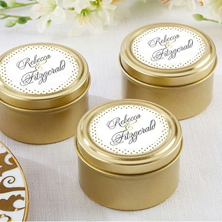 personalized classic round gold mint tin wedding favors